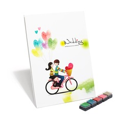 """""""Pure Love"""" Fingerprint Signature Guestbook with Colorful Inkpads"""