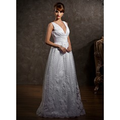 A-Line/Princess V-neck Floor-Length Tulle Wedding Dress With Lace