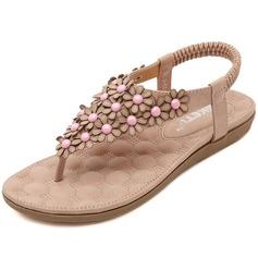 المرأة جلدي كعب مسطح صنادل مع زهرة أحذية