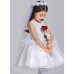 A-Line/Princess Short/Mini Flower Girl Dress - Tulle Sleeveless Scoop Neck With Beading