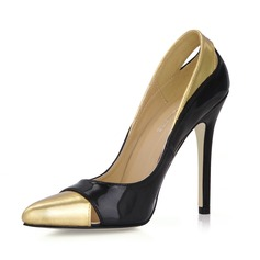 Patent Leather Stiletto Heel Pumps Closed Toe With Split Joint shoes