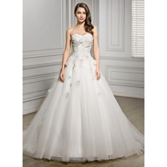 Ball-Gown Sweetheart Chapel Train Tulle Wedding Dress With Beading Flower(s) Sequins