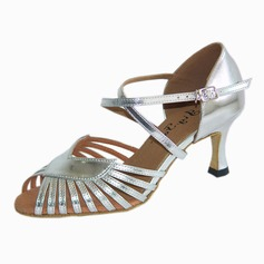 Women's Leatherette Heels Latin With Ankle Strap Buckle Dance Shoes