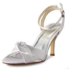 Women's Satin Stiletto Heel Pumps Sandals With Bowknot