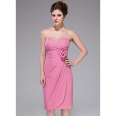 Sheath/Column Sweetheart Knee-Length Chiffon Bridesmaid Dress With Ruffle Flower(s)