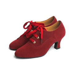 Women's Suede Heels Pumps Modern Dance Shoes