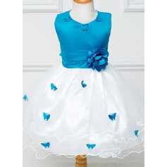 A-Line/Princess Tea-length Flower Girl Dress - Tulle/Polyester Sleeveless Scoop Neck With Flower(s)/Bow(s)