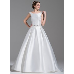Ball-Gown Off-the-Shoulder Court Train Satin Wedding Dress With Beading Sequins Bow(s)