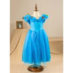 A-Line/Princess Ankle-length Pageant Dresses - Satin/Tulle Sleeveless V-neck With Flower(s)