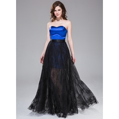 A-Line/Princess Sweetheart Floor-Length Detachable Satin Tulle Lace Prom Dress