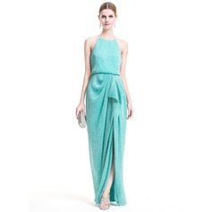 Sheath/Column Scoop Neck Floor-Length Sequined Evening Dress With Split Front Cascading Ruffles