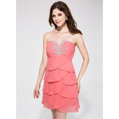 Empire Sweetheart Short/Mini Chiffon Homecoming Dress With Beading