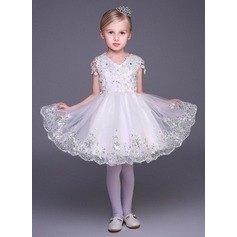 A-Line/Princess Short/Mini Flower Girl Dress - Tulle Sleeveless V-neck With Appliques/Sequins/Rhinestone