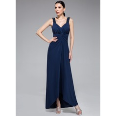 Sheath/Column Sweetheart Asymmetrical Jersey Evening Dress With Beading Sequins Cascading Ruffles