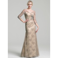 Sheath/Column V-neck Floor-Length Tulle Mother of the Bride Dress With Ruffle Beading Sequins