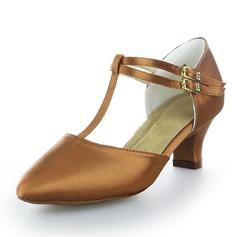 Women's Satin Heels Pumps Modern With T-Strap Dance Shoes