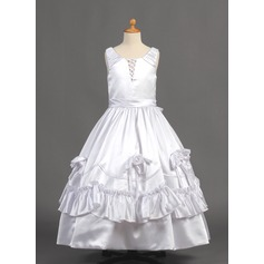 Ball Gown Floor-length Flower Girl Dress - Charmeuse Sleeveless Scoop Neck With Flower(s)/Bow(s)