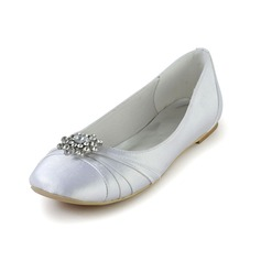 Women's Silk Like Satin Flat Heel Closed Toe Flats With Rhinestone Ruched