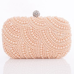 Gorgeous Satin With Imitation Pearl Clutches/Evening Handbags