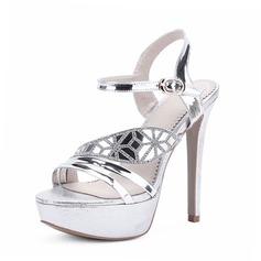 Women's Patent Leather Stiletto Heel Sandals Peep Toe shoes (087086209)