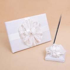 Blumen-Entwurf Schleifenbänder/Stoffgürtel/Federn Gästebuch & Schreibset