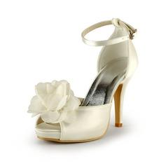 Women's Satin Cone Heel Peep Toe Platform Sandals With Flower
