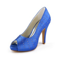 Women's Satin Cone Heel Peep Toe Platform Sandals With Rhinestone