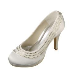 Women's Satin Stiletto Heel Closed Toe Pumps With Sequin