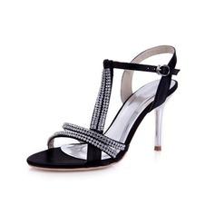Satin Stiletto Heel Sandals Pumps With Rhinestone Buckle shoes