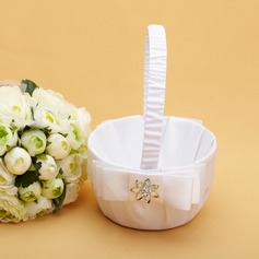 Elegant Flower Basket in Satin With Crystal/Bow