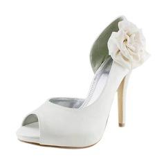 Women's Satin Stiletto Heel Peep Toe Platform Sandals With Satin Flower