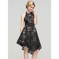 A-Line/Princess Halter Asymmetrical Lace Homecoming Dress With Beading Sequins