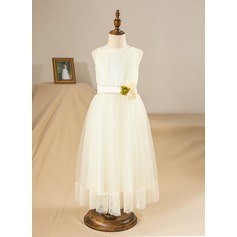 A-Line/Princess Ankle-length Flower Girl Dress - Tulle/Charmeuse/Lace Sleeveless Scoop Neck With Lace/Flower(s)/Bow(s)