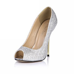Leatherette Stiletto Heel Sandals Pumps Peep Toe With Sparkling Glitter shoes