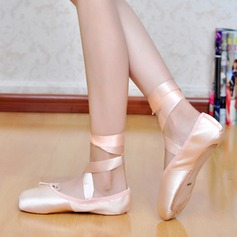 Women's Silk Flats Ballet Jazz With Lace-up Dance Shoes