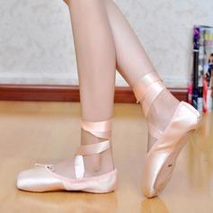 Frauen Seide Flache Schuhe Ballett Jazz mit Zuschnüren Tanzschuhe