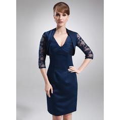 Sheath/Column V-neck Knee-Length Satin Mother of the Bride Dress