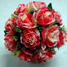 Bright Red Round Satin Bridal Bouquets