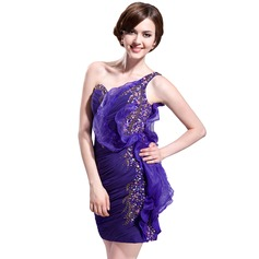 Sheath/Column One-Shoulder Short/Mini Chiffon Cocktail Dress With Beading Sequins Cascading Ruffles