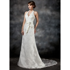 A-Line/Princess Halter Court Train Lace Wedding Dress With Sash Beading Sequins