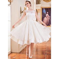 A-Line/Princess Scoop Neck Tea-Length Satin Lace Wedding Dress With Beading Flower(s) Sequins