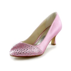 Women's Satin Spool Heel Closed Toe Pumps With Rhinestone