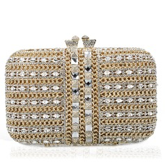 Gorgeous Crystal/ Rhinestone/Gold Plated Wristlets/Bridal Purse/Luxury Clutches
