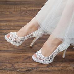 المرأة ربط الحذاء كعب ستيليتو تو زقزقة منصة صنادل