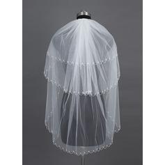 Three-tier Fingertip Bridal Veils With Beaded Edge