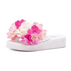 De mujer Tela Tacón plano Sandalias Chancletas con Flor zapatos