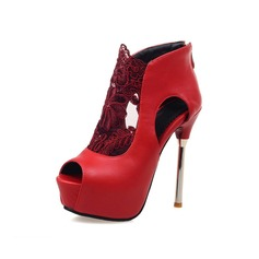 Women's Leatherette Stiletto Heel Platform Peep Toe Ankle Boots With Hollow-out shoes