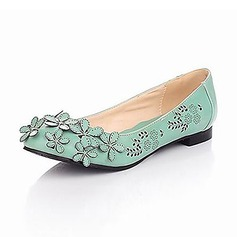 Leatherette Low Heel Closed Toe Flats With Flower