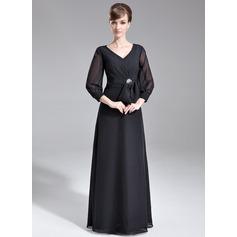 A-Linie/Princess-Linie V-Ausschnitt Bodenlang Chiffon Kleid für die Brautmutter mit Rüschen Kristalle Blumen Brosche Schleife(n)