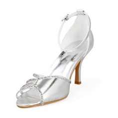Women's Leatherette Stiletto Heel Peep Toe Sandals With Rhinestone